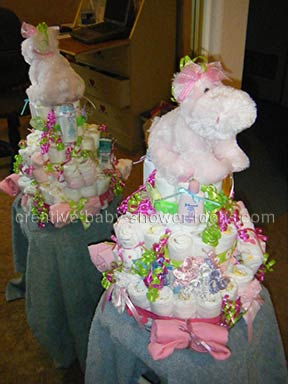 side of pink hippo nappy cake