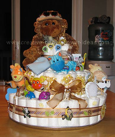 gorilla diaper cake with animal friends