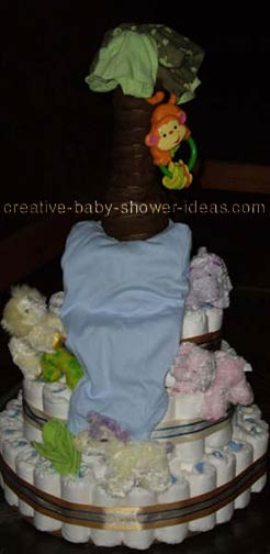 3 layer jungle waterfall diaper cake