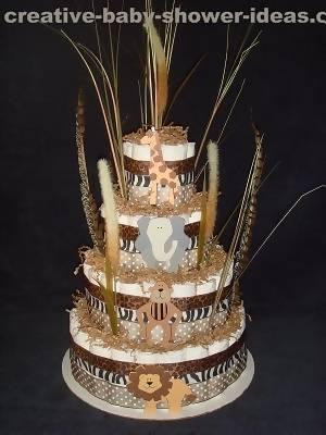 jungle animals diaper cake
