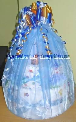 blue cars nappy cake wrapped in tulle