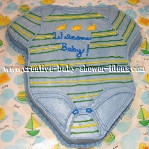 blue green and yellow onesie cake
