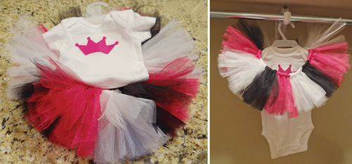 fushia glitter, white and black tulle baby tutu