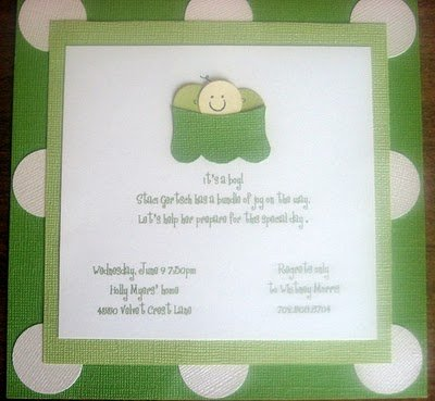 pea in a pod baby shower invitation