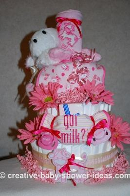hot pink got milk diaper cake with daisy accents