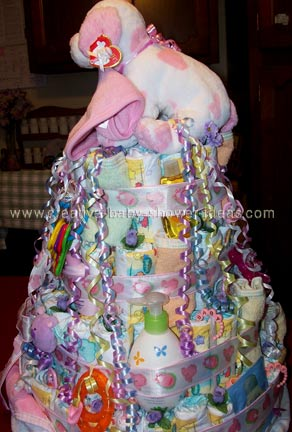 side of princess baby shower diaper cake