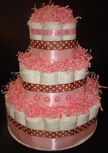 mod bear and polka dots diaper cake