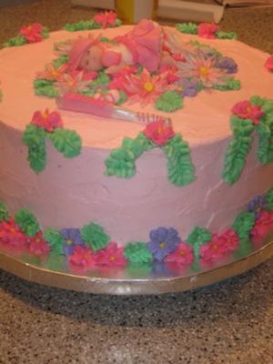 Pink Softball Baby Shower Cake