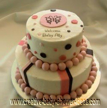 pink and chocolate pink polka dot shower cake