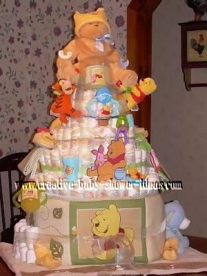 tan and yellow winnie the pooh diaper cake