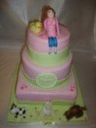3 tier pink and green belly cake