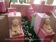 princess baby shower with lots of pink wrapped gifts and teddy bears