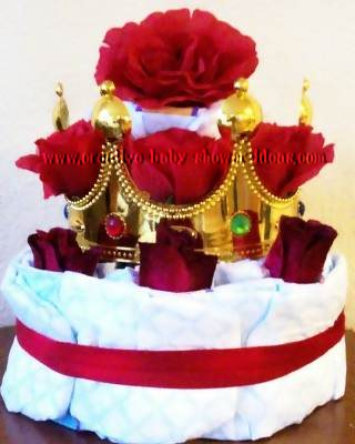 red roses princess crown diaper cake
