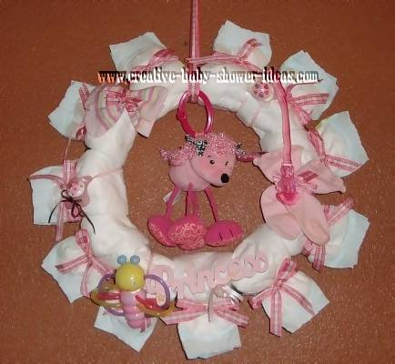 princess poodle diaper wreath