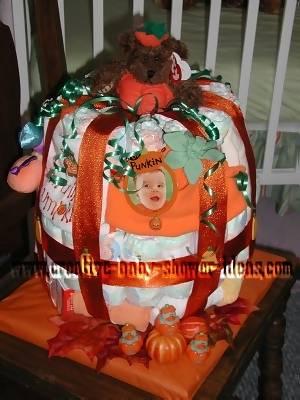 little pumpkin baby diaper cake