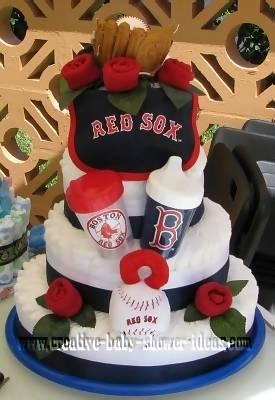 red sox vs. yankees diaper cake
