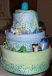 boy diaper cake with blue blankets