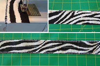sewing machine sewing edging on ruffled strips