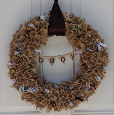rustic baby shower wreath