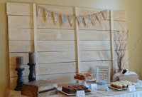 rustic sip and see baby shower dessert table