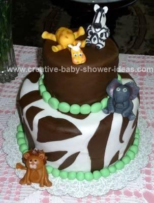 green and brown safari animals baby shower cake