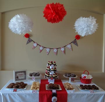 finished cupcake stand at a party