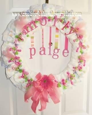 pink baby diaper wreath
