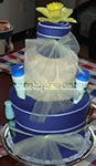 white and blue striped towel cake