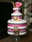 pink polka dot towel cake