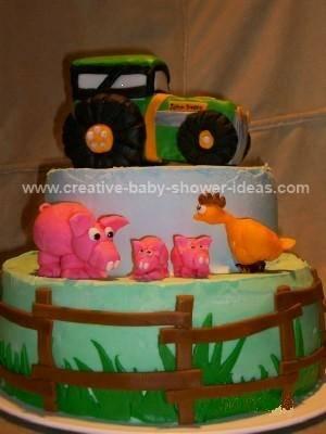 john deere tractor baby shower cake