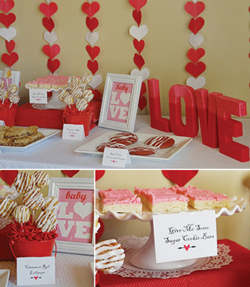 valentine baby shower food table