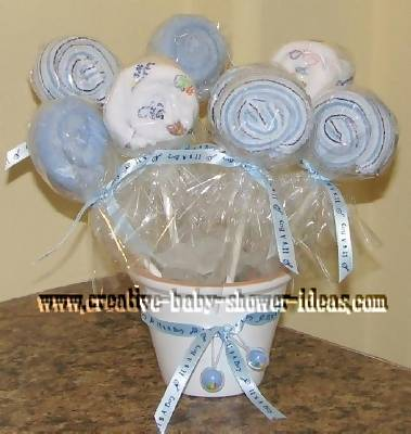 blue and white washcloth lollipop bouquet