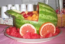 watermelon baby carriage with grapefruit wheels