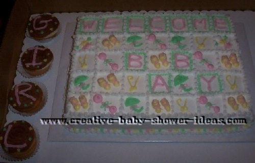baby shower quilt blocks  cake
