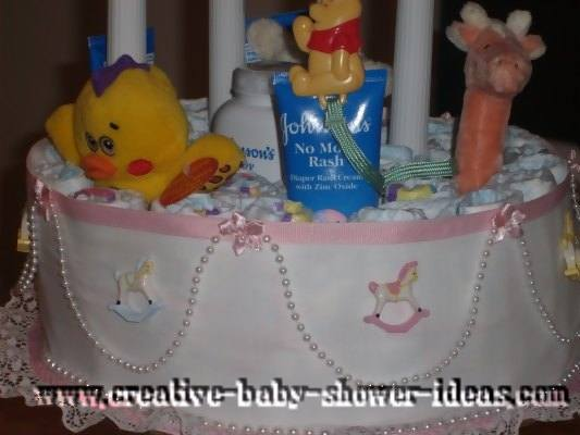 closeup of ribbon detail on winnie the pooh diaper cake