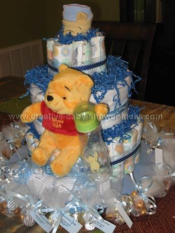 blue polka dot winnie the pooh diaper cake