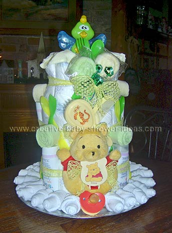 green winnie the pooh diaper cake