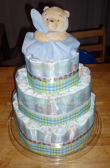 soft blue blanket winnie the pooh diaper cake