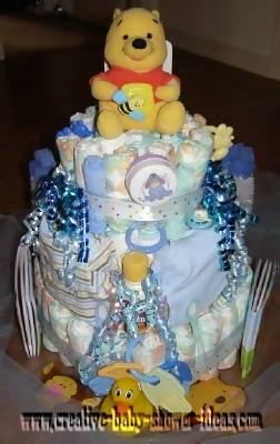blue winnie the pooh diaper cake