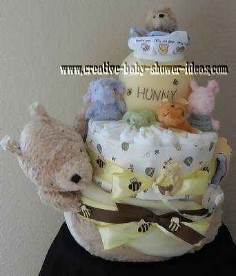 yellow winnie the pooh and honey bees diaper cake