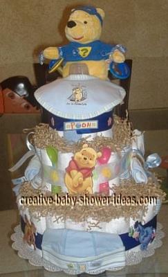 super hero winnie the pooh diaper cake