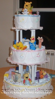 elegant cake pillars winnie the pooh diaper cake