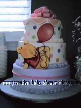 purple and pink polka dot with winnie the pooh baby cake