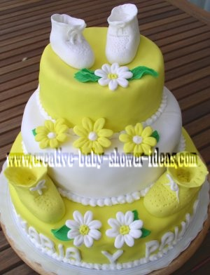yellow and white daisies baby bootie shower cake